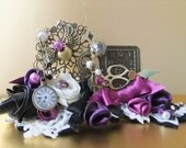 tiara steampunk style, charms & ribbon roses with beading detail, purple tones in this layered unique look