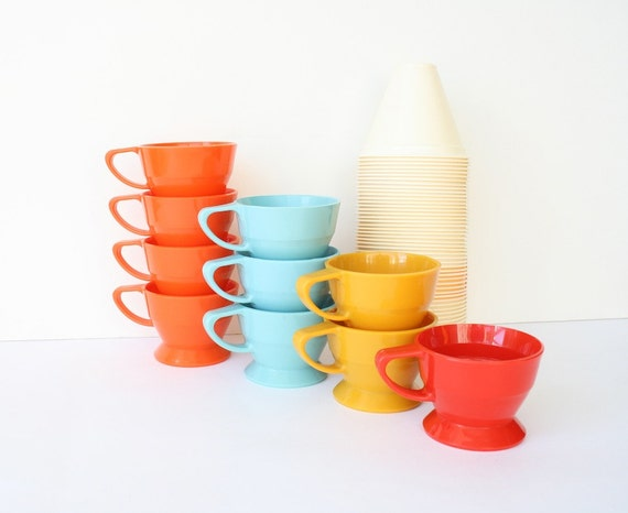 Solo Cozy Cups Plastic Coffee Cup Holders Vintage Retro Kitchen Orange Turquoise Harvest Gold Red