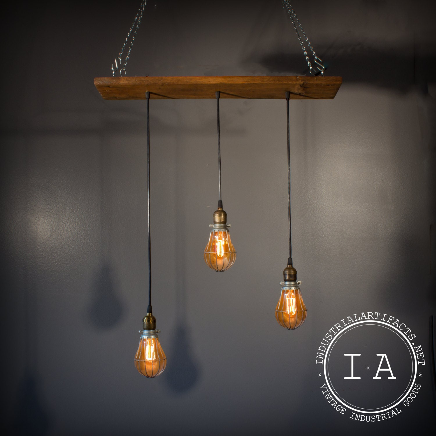 Just Reduced Rustic Handmade 3 Bulb Hanging Light Fixture Or: Vintage Industrial Pendant Lamp Chandelier Reclaimed Barn Wood