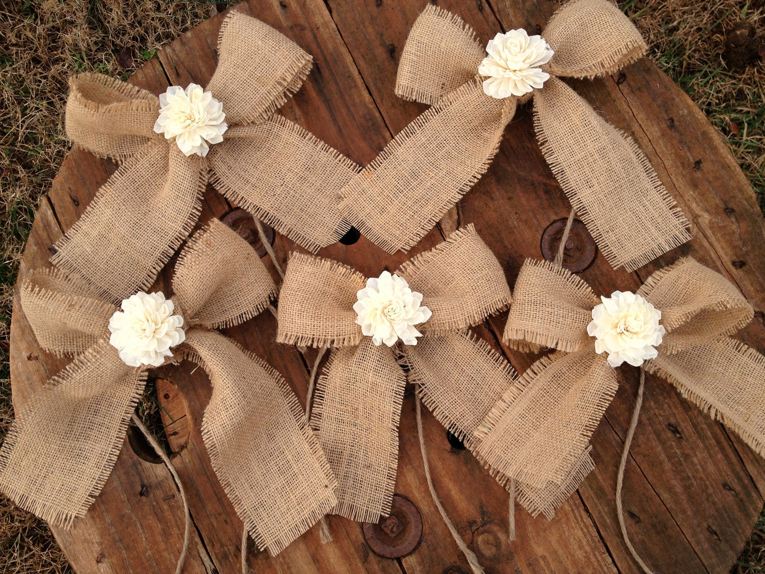 Set of 5 sola flower burlap bows shabby chic by for Burlap designs