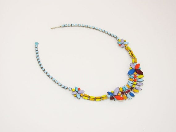 Tom Binns style multi coloured navette VINTAGE rhinestone necklace, choker with red, blue, purple, yellow, orange, pastel and neon colours.