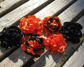 black and orange school colors headbands flowers