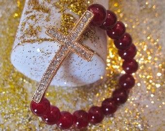 Cross Bracelt.       Red Beauty