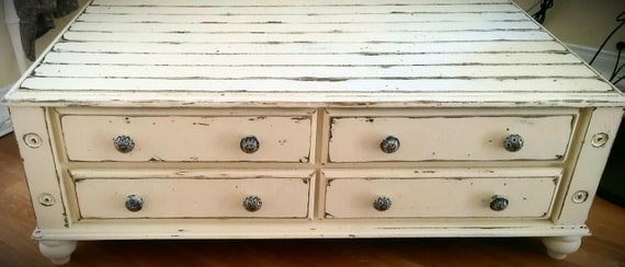 Gorgeous shabby chic distressed coffee table, or television stand