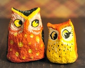 Two Little Owls, Vintage Inspired Halloween Figurine Decorations
