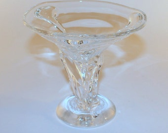 Hand Blown Glass dish with clear stemmed foot
