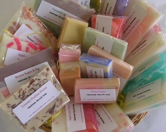 Sample Soaps - Variety Grab Bag - Handmade Glycerin Soap - Guest soap  Travel soap