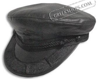 Leather Greek Fisherman's Hat - Black