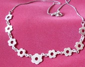 Hippy Flower Power Vintage Sterling Silver Daisy Chain Necklace