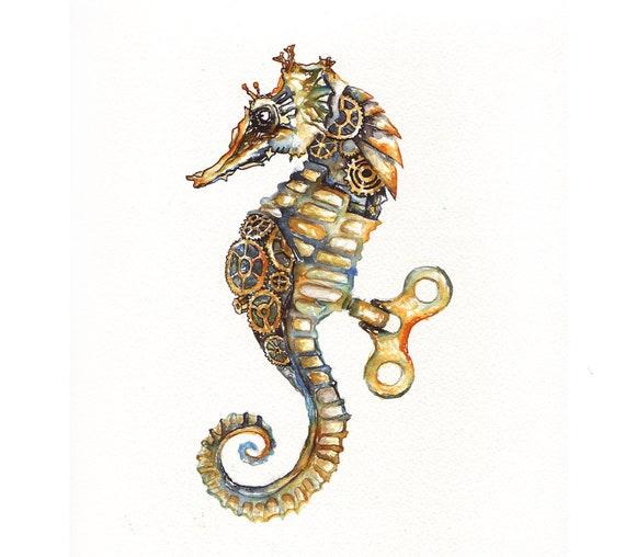 Steampunk Seahorse Original Painting 12x9