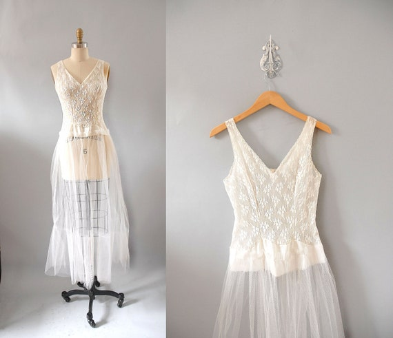 s a l e 1950s Slip / Tulle Wedding Slip / 50s