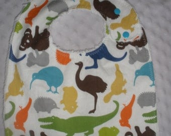Toddler Size Side snapping bib - Down Under Animals print