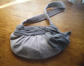 Grey Corduroy Hobo Bag