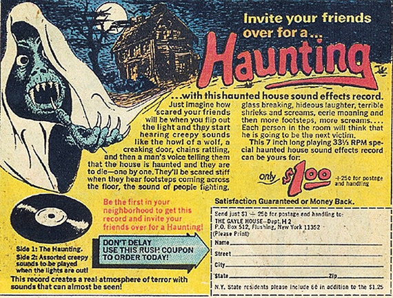 Halloween Decorations  THE HAUNTING a Gayle House Record -Comic Book Mail-order item from 1971