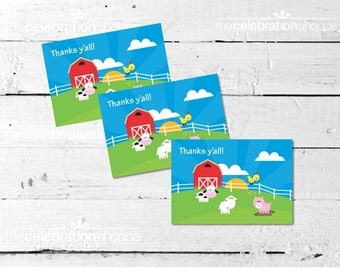 FARM Birthday Party THANK YOU Note  from The Celebration Shoppe