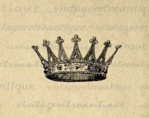 Printable Image Crown Graphic Digital Download Artwork Vintage Clip Art for Transfers Making Prints etc HQ 300dpi No.2290