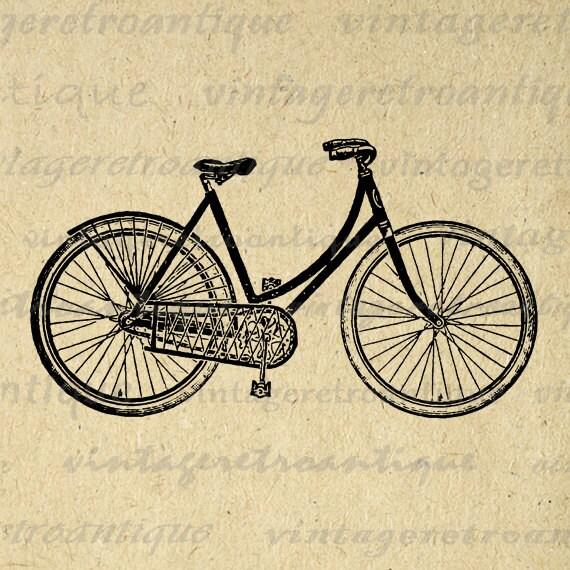Digital Image Antique Ladies Bicycle by VintageRetroAntique