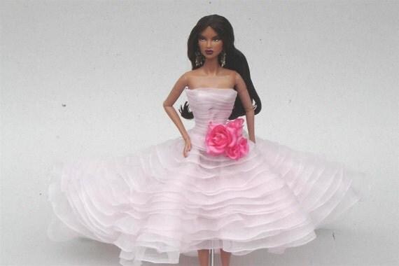 DESYSHOP Fashion  Barbie Royalty Silkstone OOAK soft pink evening dress