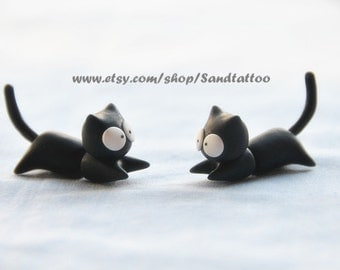Sale 1 Pair Of Cute Lovey Black Cat Earrings, Chomper Earring, Witch jewelry, Unique Earrings, Cute jewelry