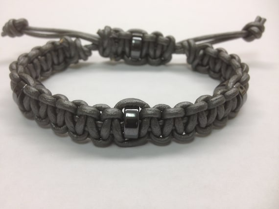 mens macrame bracelet items similar to grey s leather bracelet macrame 3349