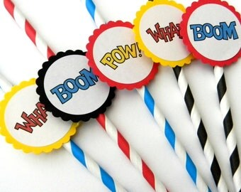 12 Superhero Straws, Birthday Decor, Boom Pow Wham, Superhero Theme, First Birthday, Striped Straws, Superhero Party, Boy Birthday, Party