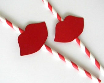 12 Red Lip Party Straws, Little Lady, Baby Shower, Props, Wedding, Paper Straws, Gender Reveal, First Birthday, It's a Girl, Red Lip Props
