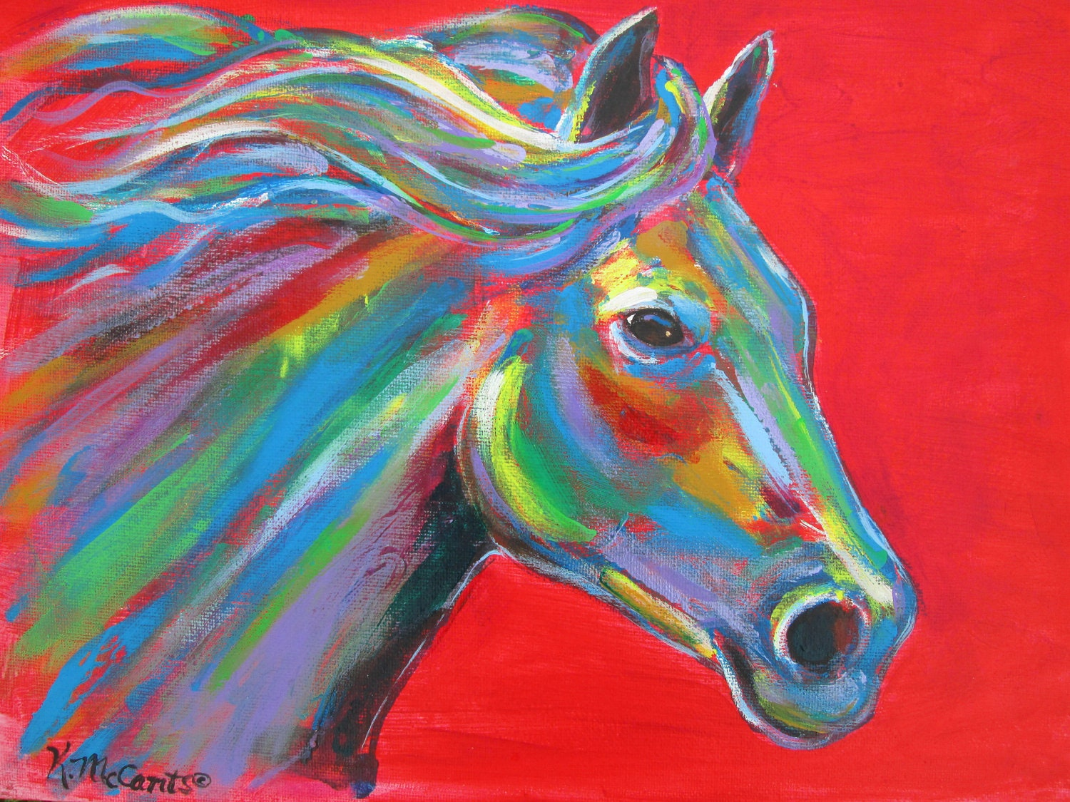 Original Gorgeous Colorful Horse Expressionist Red