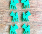 6 Acrylic Jade Green Deer / Fawn 14 mm Laser Cut