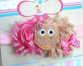 baby girls, Baby Headband / Pink Owl Girls headband, Owl headband / Baby Headbands / Baby Photo Props, toddler, birthday