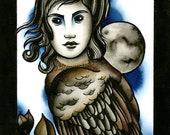 Owl Antler Woman PRINT Tattoo art ink painting print