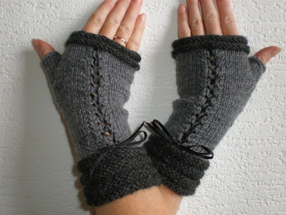 Handknitted grey/dark grey color mix  with black accent color women fingerless gloves / wrist warmers