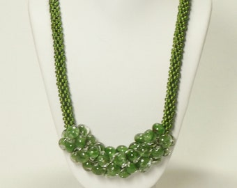 Olive Kumihimo Necklace w/Dichroic Olive Unicorne Teardrops SRAJD 3520