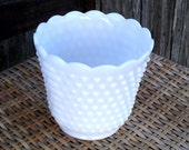 Vintage Fire King White Milk Glass Hobnail Scalloped Planter - 2 available