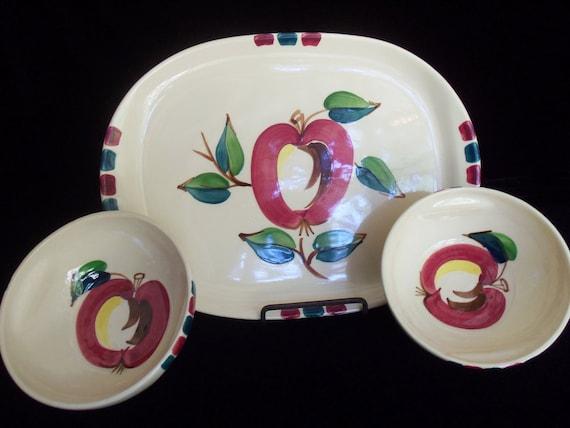 Serving Platter Bowls Puritan  Slip Ware Apples