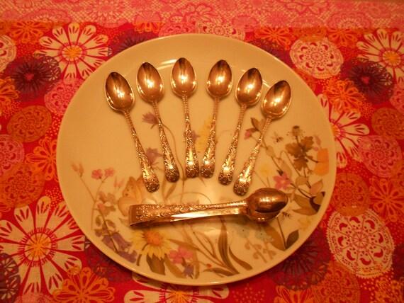 Demitasse Spoon & Sugar Tong Set- Silver Plate Set of 6 Demitasse Spoons and 1 Sugar Tong, Vintage Demitasse Set