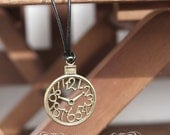 Simple Necklace - Leather Cord - Rustic - Clock