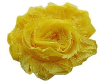 """1 YARD 2.5"""" Solid Yellow Shabby chiffon flower TRIM"""