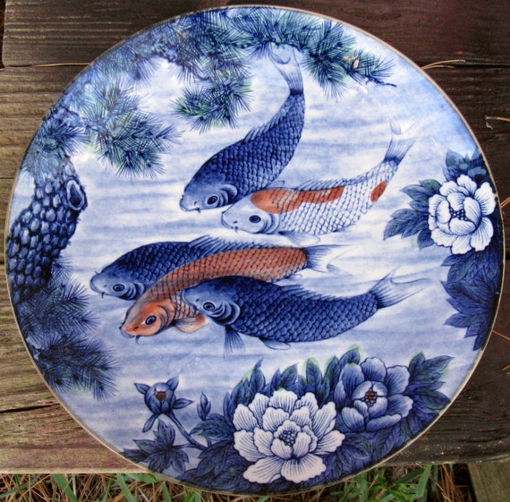 Vintage Large Colorful Pottery Ceramic Plate Showing Koi
