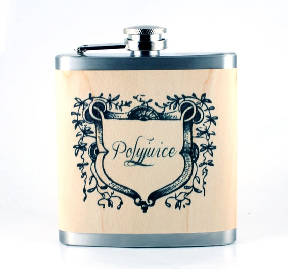 Polyjuice Flask- perfect gift for Harry Potter fans - real wood wrapped metal flask