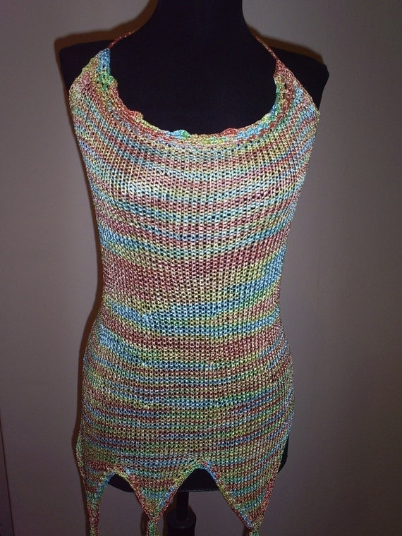 Hand knitted tunic in a rainbow of colors, silk  knitted top, knitwear, knitted top, summer knitted blouse,girls top