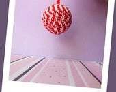 Zig zag red and white stripe keychain ,hand crocheted with cotton thread