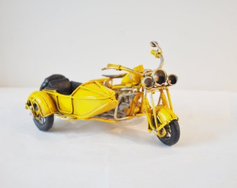 Yellow miniature bike with a side car, moving parts, vintage, yellow motorbike miniature with side car, men's gift, collectible item