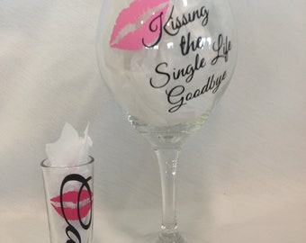 Bachelorette Wine Glass & Shot Glass