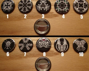 "Organic Swarm 1.25 ""Graphic Button Set (5 Buttons)"