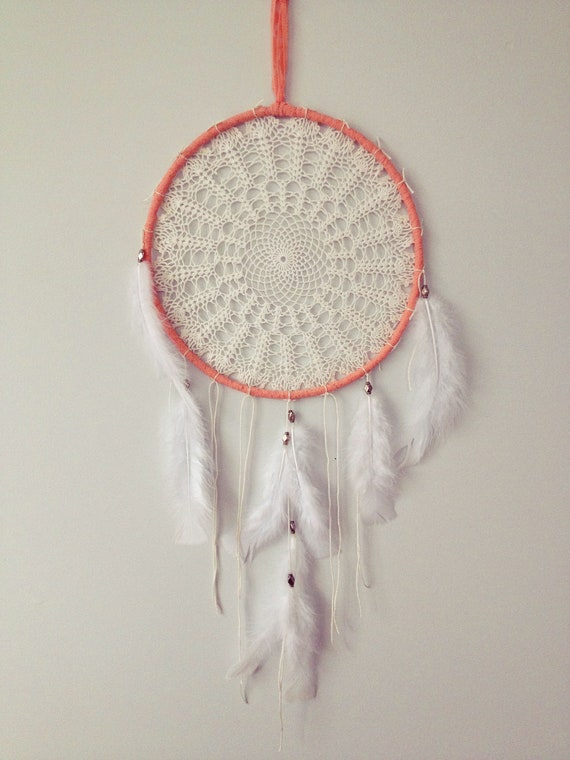 "pretty in peach 10"" with white vintage doily dream catcher"