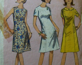 1960s Vintage Sewing Pattern  Simplicity 6392  Misses' Size 14  One-Piece Dress