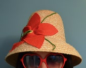Charming Italian Made Vintage Sun Hat With Flower Adornment