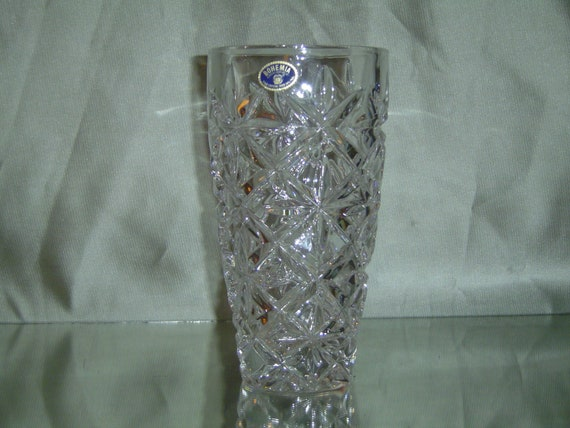 Very Heavy Bohemia Czech Republic 24 Lead Crystal Vase With