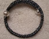 Black and Blues Viking Knit Bracelet on Memory Wire