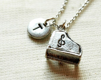 Piano Necklace, Grand piano charm necklace, Music charm, initial necklace, initial hand stamped, personalized, antique silver, monogram